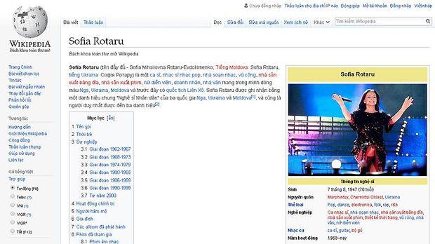 Ротару, вікіпедія, рейтинг, популярність, мови, в'єтнамська